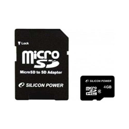 Карта памяти microSD SiliconPower 4Gb (4)+Ad