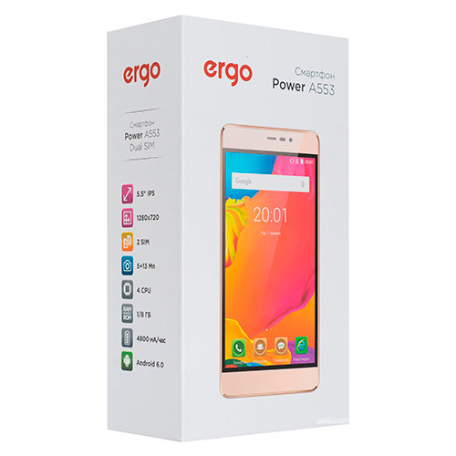 Смартфон ERGO A553 Power Gold